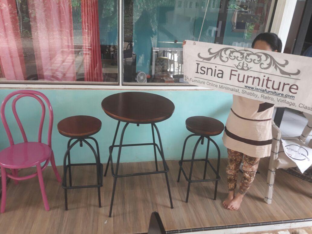 Set Kursi Cafe Besi Kayu Jati