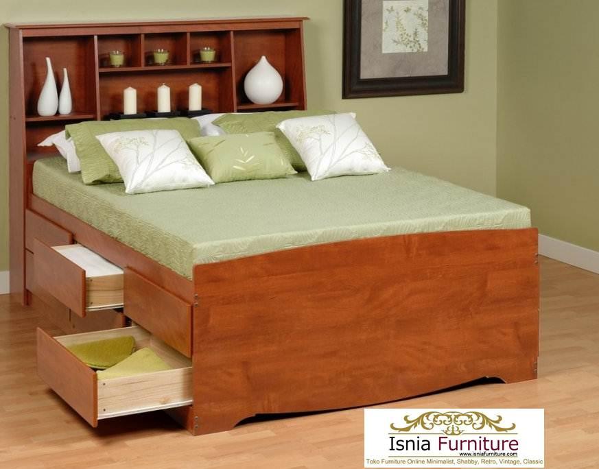 Tempat Tidur Tangerang Jati Model Laci Minimalis