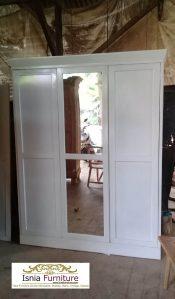 Lemari Pakaian Bogor Pintu 3 Duco Putih