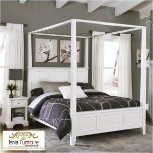 Tempat Tidur Minimalis Kanopi Harga Murah Warna Putih