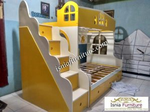 Tempat Tidur Tingkat Bandung Warna Custom Yellow White