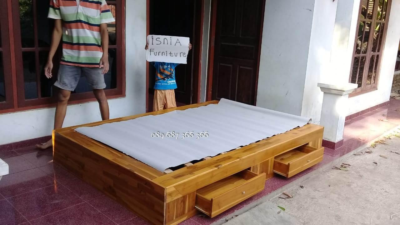 Tempat Tidur Laci Jati Model Modern Minimalis Harga Murah