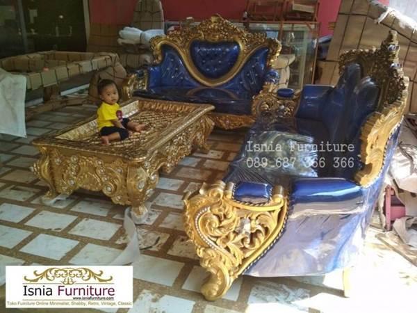 Set Kursi Sofa Mewah Ruang Tamu Bahan Kayu Solid Ukir Jepara