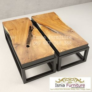 Meja Tamu Coffe Table Jati Kaki Besi Termurah Desain Modern Unik