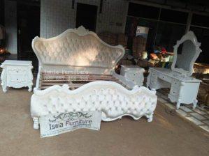 Jual Set Tempat Tidur Mewah Modern Warna Putih Ukir Jepara