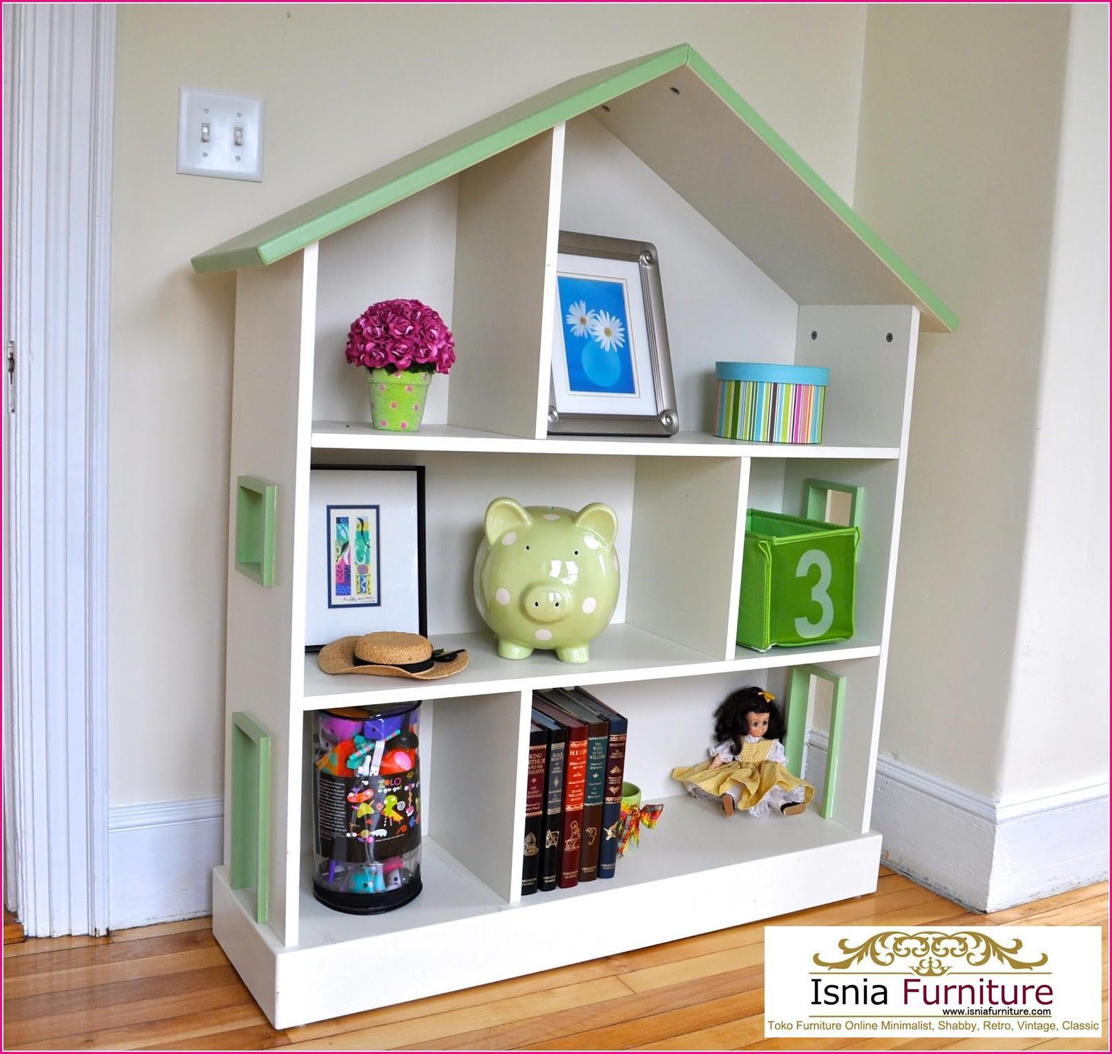 Lemari Buku Anak Bahan Kayu Jati Minimalis Bentuk Rumah