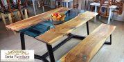 Jual Meja Trembesi Resin Untuk Ruang Makan Modern
