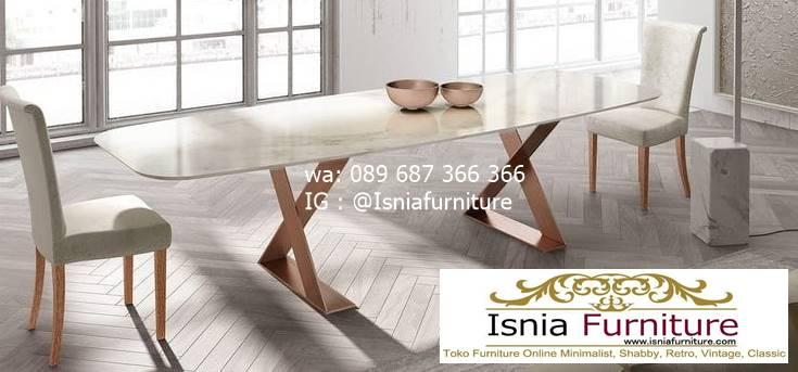 Meja Makan Marmer Putih Mewah Terbaru