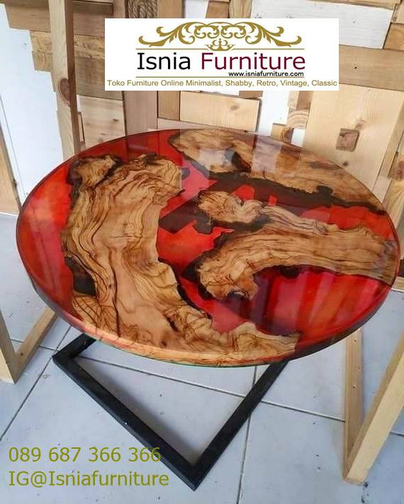 Meja Resin Kayu Jati Antik