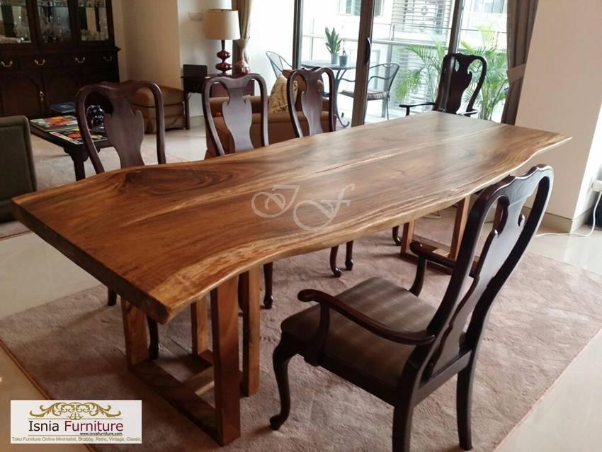 set meja makan kayu rustic terbaru