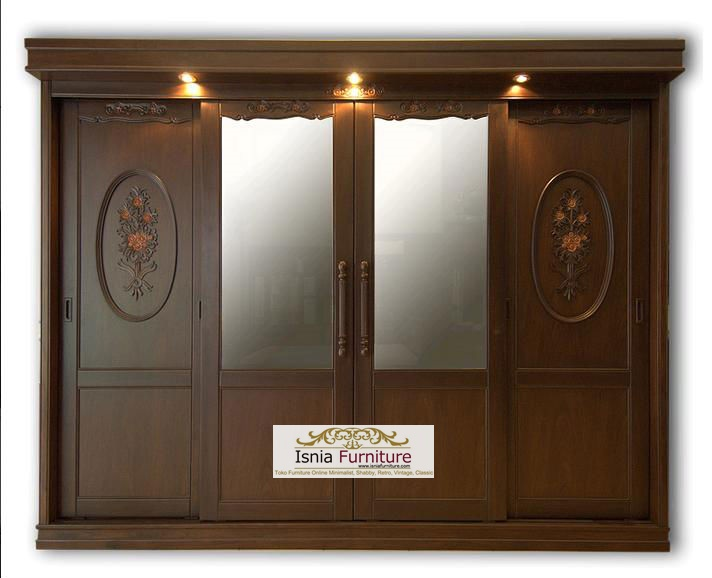 lemari pakaian 4 pintu ( luxury wardrobe of teak wood )