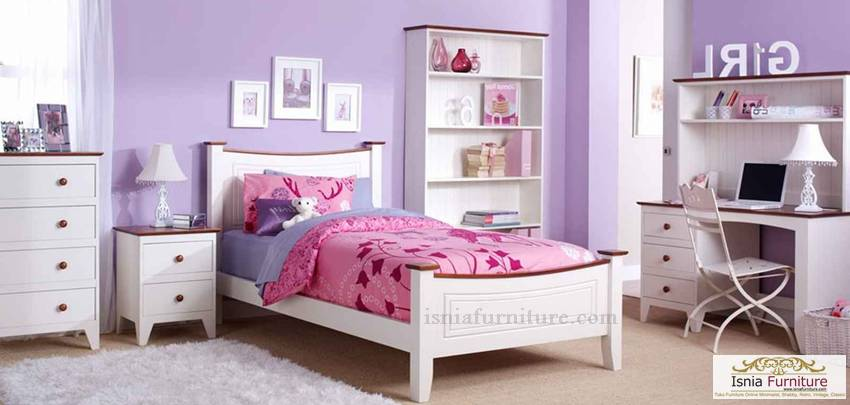 kamar set anak perempuan putih