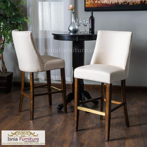 kursi bar kayu jati jok putih