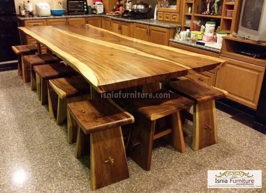 meja makan trembesi 10 kursi