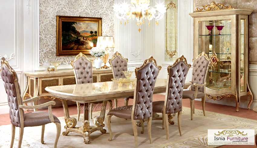 model set meja makan mewah baroque