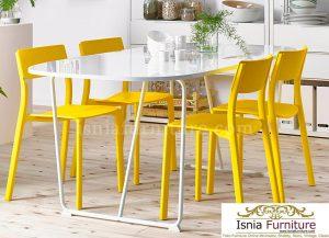 Meja Makan Cantik 4 Kursi Kuning