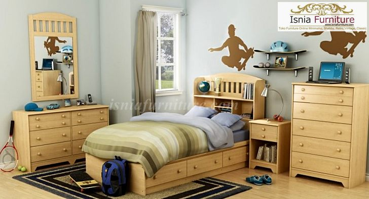 model kamar set anak minimalis natural
