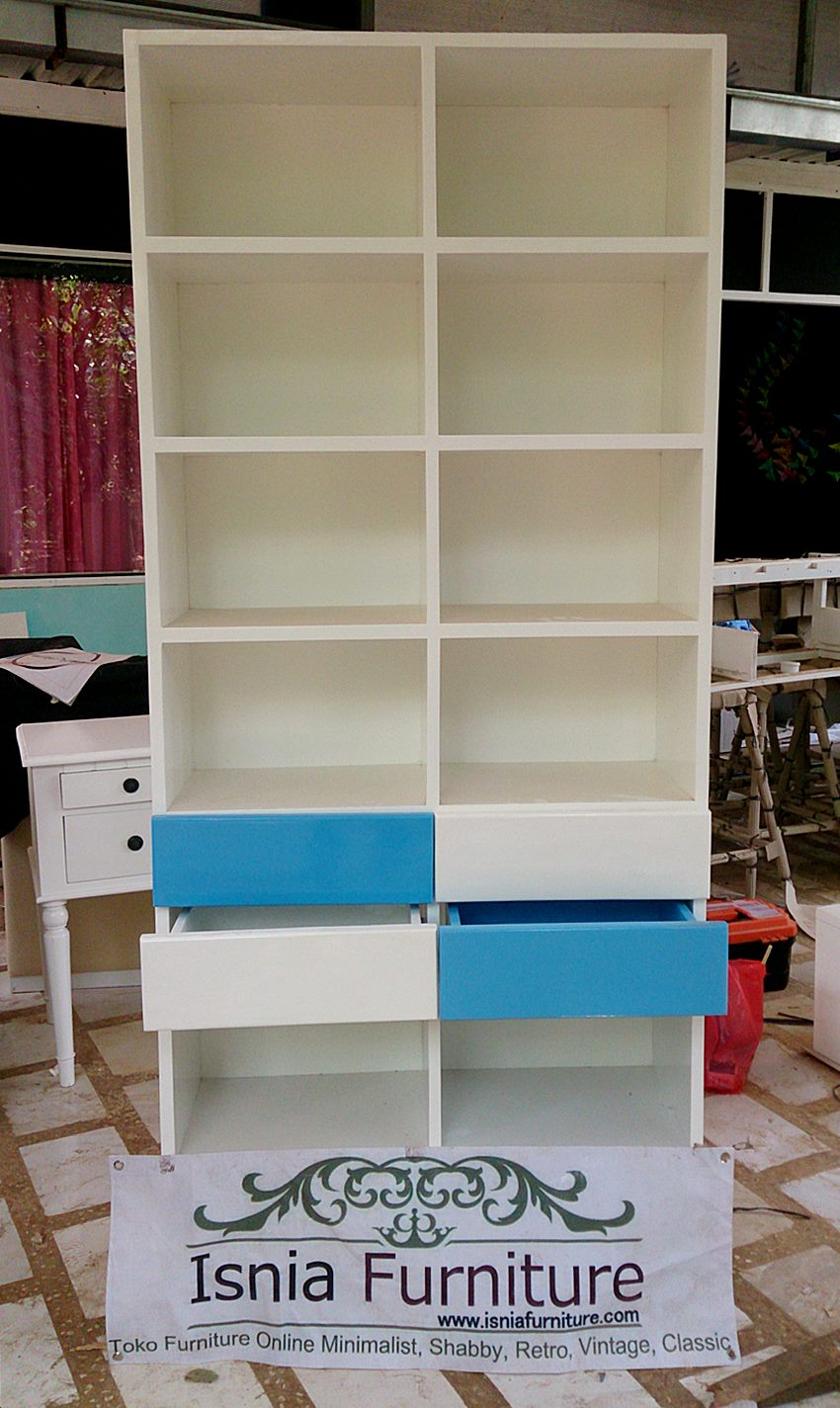 model lemari buku minimalis terbaru isnia furniture
