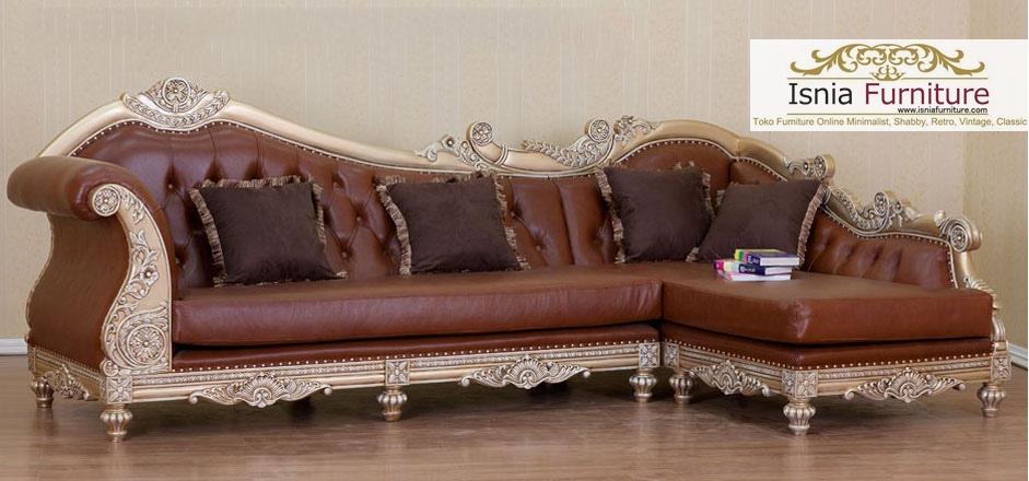 sofa mewah sudut kayu jati