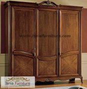 Jual Lemari Pakaian Jati Solo Mewah Model Klasik Tiga Pintu