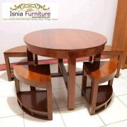 Jual Murah Coffe Table Bulat Desain Modern Kayu Jati